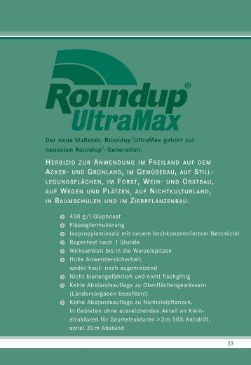Roundup Ultramax Anwendungsgebiete Und Aufwandmengen