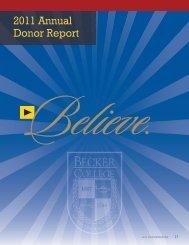 2011 Annual Donor Report - Becker College