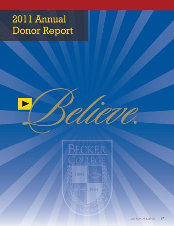 2011 Annual Donor Report - Becker College
