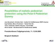 Möglichkeiten zum realitätsnahen Fußgängerschutz ... - ika - RWTH