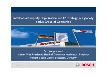 Corporate Intellectual Property Bosch Group