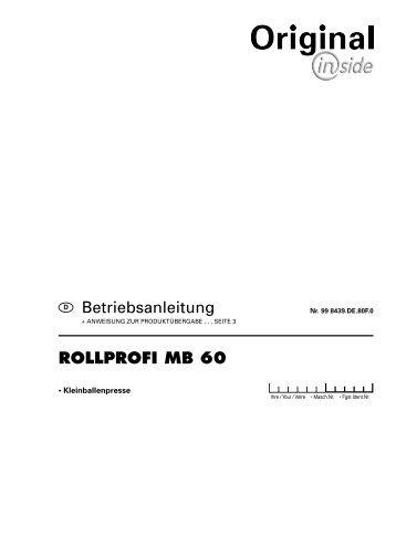 rollprofi mb 60 - Alois Pöttinger Maschinenfabrik GmbH
