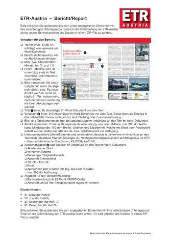 Bericht - Institut für Eisenbahnwesen, Verkehrswirtschaft und ...