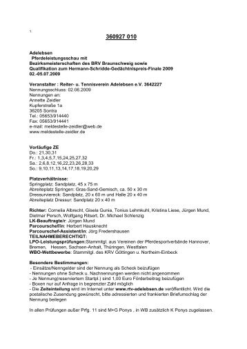 Adelebsen Pferdeleistungsschau mit Bezirksmeisterschaften des ...