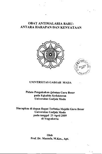 obat antimalaria baru - Ugm - Universitas Gadjah Mada
