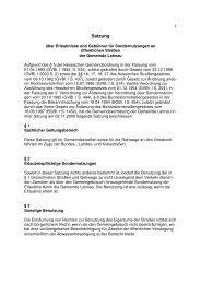 Satzung über Erlaubnisse und Gebühren für ... - Lahnau