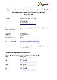 Kontaktdatenblatt gem. GeLi-Gas - Stadtwerke Schaumburg-Lippe