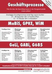 MaBiS, GPKE, WiM Geschäftsprozesse GeLi, GABi, G685