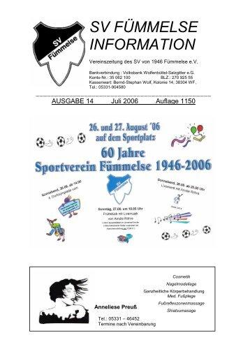 Ausgabe Nr. 14 Juli 2006 - SV Fümmelse - T-Online