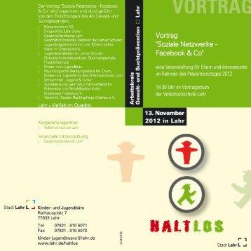 Flyer Vortrag 'Soziale Netzwerke - Facebook & Co' - Stadt Lahr
