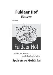 Speisekarte - Fuldaer Hof