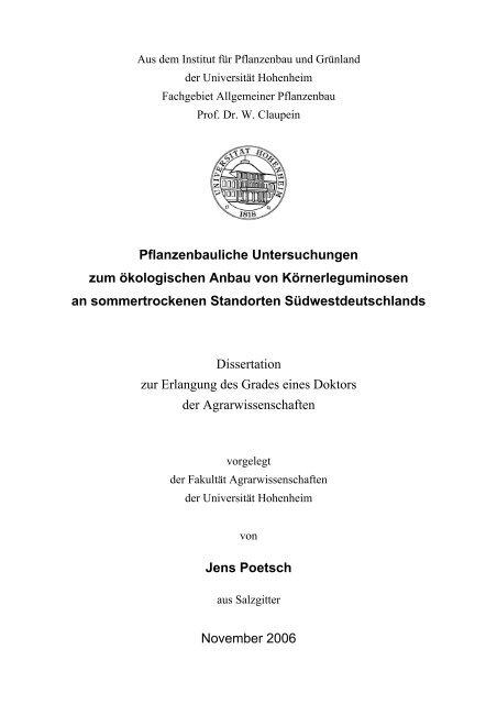 Pflanzenbauliche Untersuchungen zum ökologischen Anbau von ...