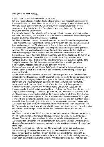 Anschreiben an Herrn Herzog - Landesverband der ...