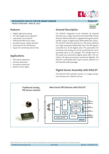 Info Sheet E910.97, Integrated circuit for smart - Elmos ...