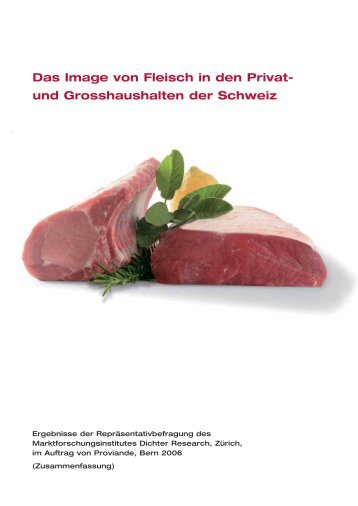Das Image von Fleisch in den Privat- und Grosshaushalten der ...