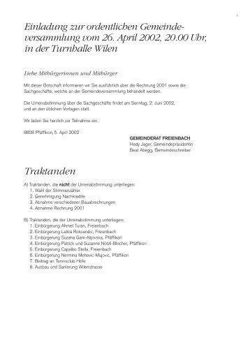 Funktionale Gliederung - Gemeinde Freienbach