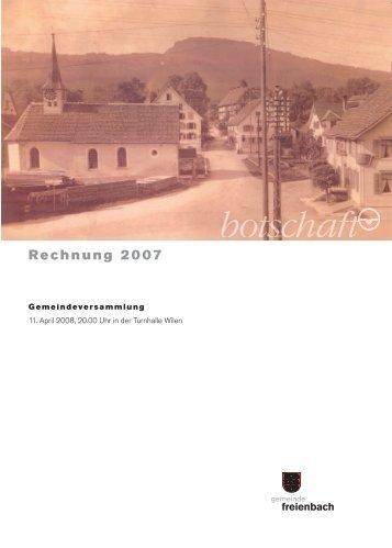 Bericht zur Rechnung 2007 - Gemeinde Freienbach