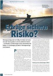 Erträge sichern oder Risiko? - MetaSky Reinigungssysteme KG