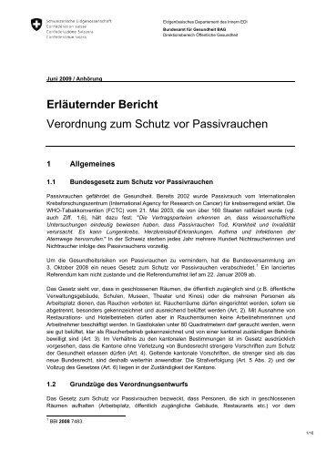 Erläuternder Bericht Verordnung zum Schutz vor ... - admin.ch