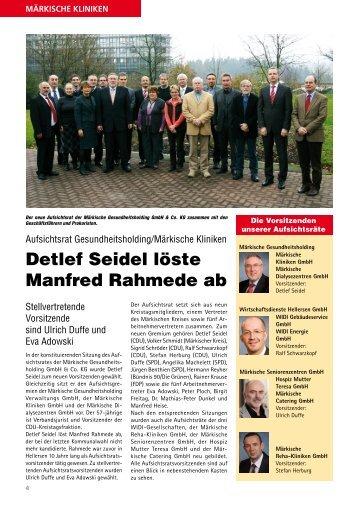 Detlef Seidel löste Manfred Rahmede ab - Märkische Kliniken GmbH