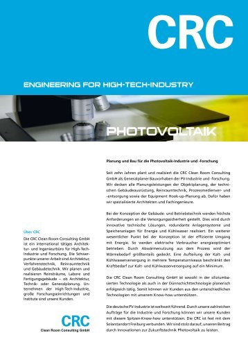 CRC Photovoltaik - CRC Clean Room Consulting GmbH