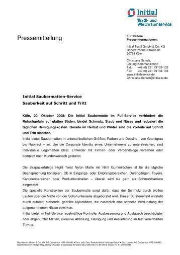 Initial Pressetext Saubermatten - Initial Textil