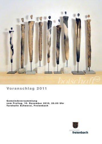 Voranschlag 2011 - Gemeinde Freienbach
