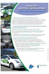 Datasheet: Full hybrid NGV Toyota Prius - IFP Energies nouvelles