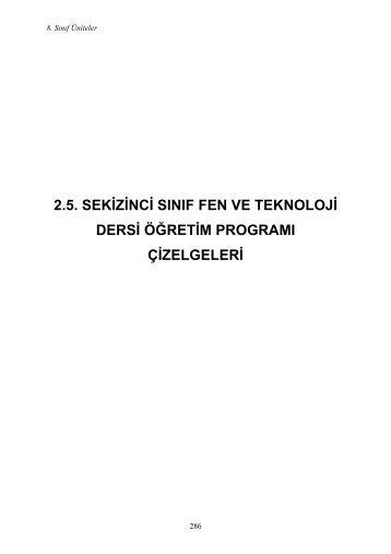 2.5. SEKİZİNCİ SINIF FEN VE TEKNOLOJİ DERSİ ÖĞRETİM ...