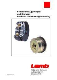 Schaltbare Kupplungen und Bremsen Betriebs - Max Lamb GmbH ...