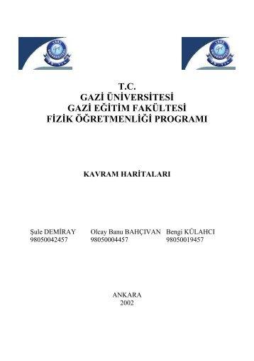 T.C. GAZİ ÜNİVERSİTESİ GAZİ EĞİTİM FAKÜLTESİ FİZİK ...