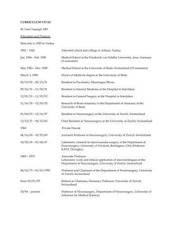 M. Gazi Yasargil, M.D. Curriculum Vitae - University of Arkansas for ...
