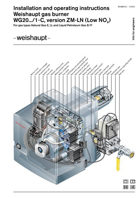 Installation And Operating Instructions Weishaupt Gas Burner