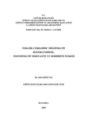 torasik cerrahide preoperatif değerlendirme, postoperatif mortalite