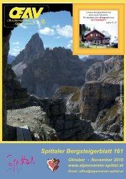 Spittaler Bergsteigerblatt 161 - Alpenverein Spittal/Drau