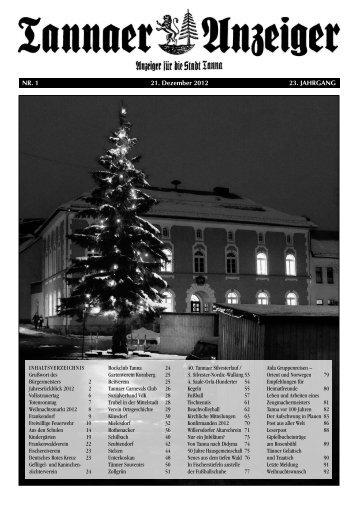 Jahresanzeiger 2012 - Stadtverwaltung Tanna