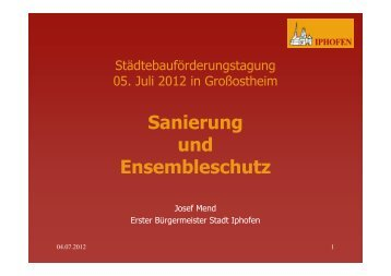 Sanierung und Ensembleschutz - Regierung von Unterfranken