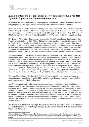 Zusammenfassung der Ergebnisse der ... - Gemeinde Freienbach