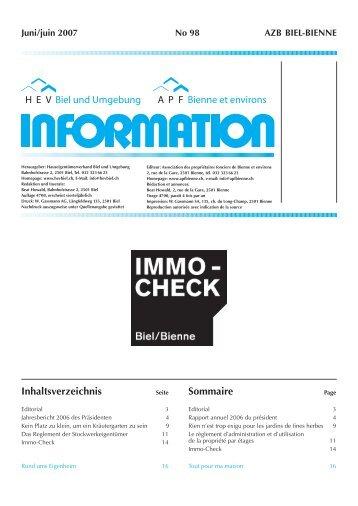 HEV-Information Nr. 98 - Hauseigentümerverbandes Biel