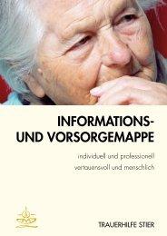 INFORMATIONS- UND VORSORGEMAPPE - Trauerhilfe Stier
