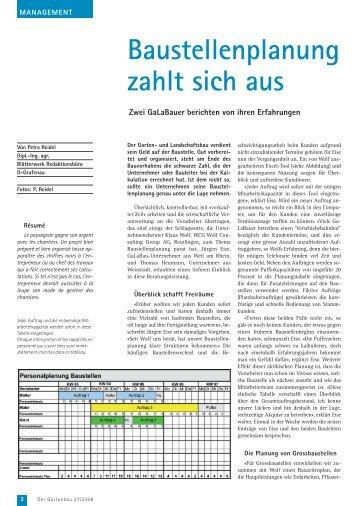 Baustellenplanung im GaLaBau - WCG Wolf Consulting Group AG