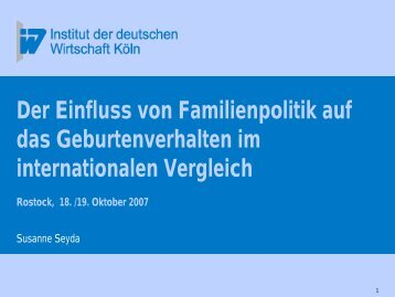 Susanne Seyda (Institut der deutschen Wirtschaft, Köln): Einfluss