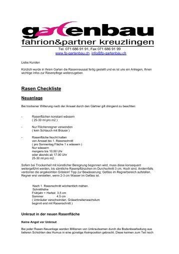 Rasen Checkliste - Fahrion und Partner Gartenbau AG