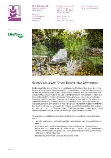 Gebrauchsanweisung und Pflegetipps - Viva Gartenbau AG