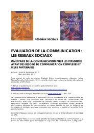 Réseaux sociaux EVALUATION DE LA COMMUNICATION