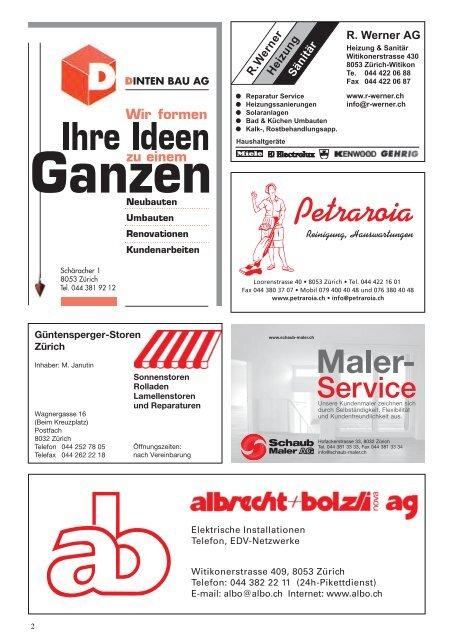 für Witikon und Umgebung - Quartier-Anzeiger Archiv - Quartier ...