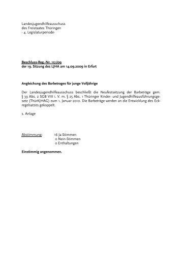 151-09 Angleichung Barbetrag - Freistaat Thüringen