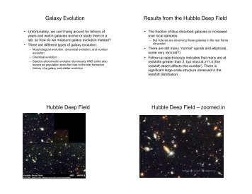 Galaxy Evolution Results from the Hubble Deep Field Hubble Deep ...