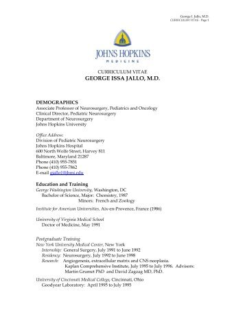 GEORGE ISSA JALLO, M.D. - Johns Hopkins Children's Center