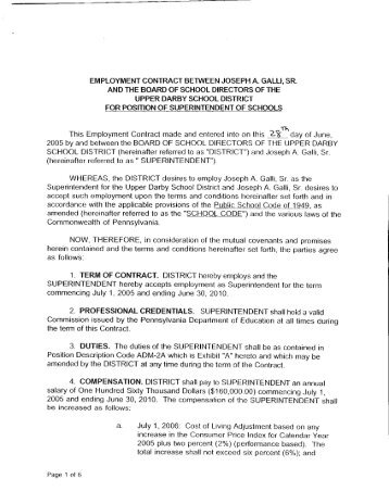Employment Contract Between Greater Egg Harbor